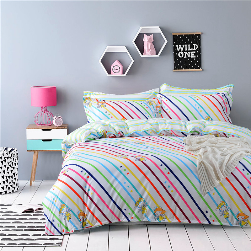 New Arrival Colorful Rainbow Stripes Bedding Set 4pcs