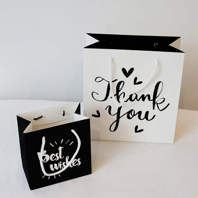 1 Pc Cute Party Bags Kraft Paper Gift Bag With Handles Black Or