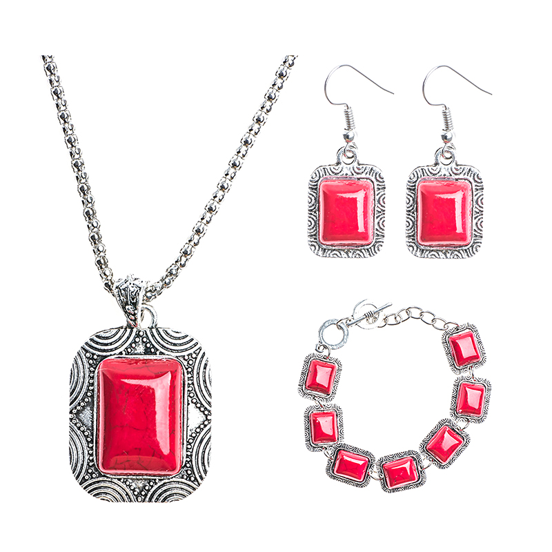 1Set Court style Womens Vintage Classic Red Square Jewelry Set Include Bracelet Earrings