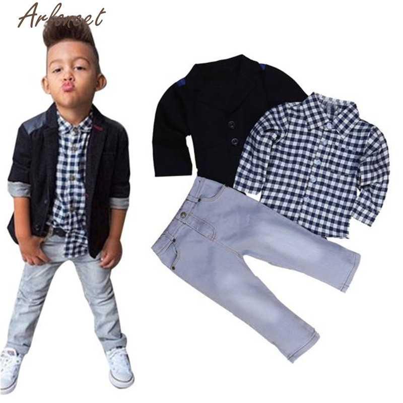 ARLONEETปีใหม่แฟชั่นคริสต์มาสpajamas1Setเด็กเด็กสูทธุรกิจ+เสื้อยืด+กางเกงเด็กชุดเสื้อผ้าOct19
