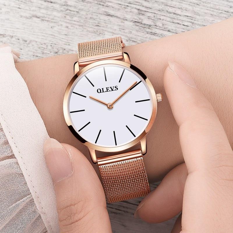 1b1d717f6e1 OLEVS Mulheres Superiores Marca De Luxo Relógios Em Aço Inoxidável Rose  Ouro Senhoras Relógio de Alta