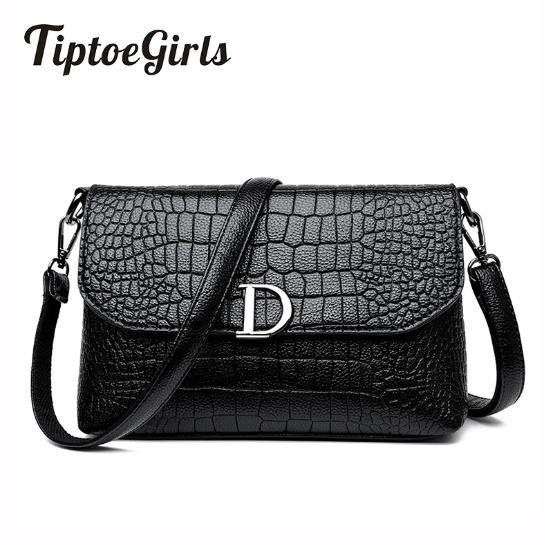 Hot Korean Fashion Trend of the New Personality Crocodile D Word Shoulder Bag Wild Casual Messenger Messenger Bag