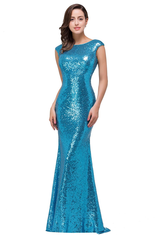 In Stock Babyonline Rose Gold Sequin Mermaid Prom Dresses Cap ...