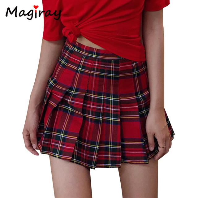 Mgr Preppy Harajuku Plaid A-Line Mini Skirt Girl Ball High Waist Pleated Sailor
