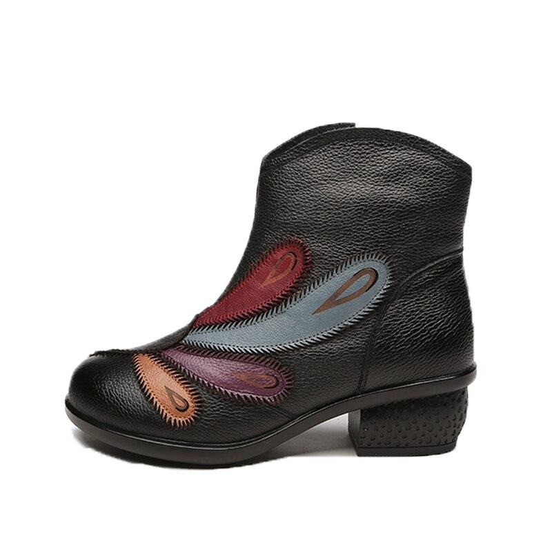 Hiver Peluche Véritable Cuir Chaud 2018 Cheville Chaussures pourpre Semelle Bottes Noir Courte Xiuteng D'hiver Femmes cJlF1TK