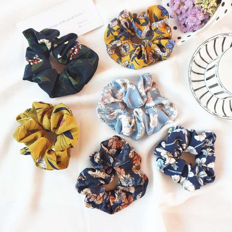 Fashion Girls Hair Scrunchies Bun Ring Elastic Floral Leopard Sports Hairband