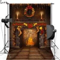 MEHOFOTO Natale Vinyl Fotografia Sfondo Camino Nuovo Tessuto di Flanella Sfondo Per Il Bambino studio fotografico 822