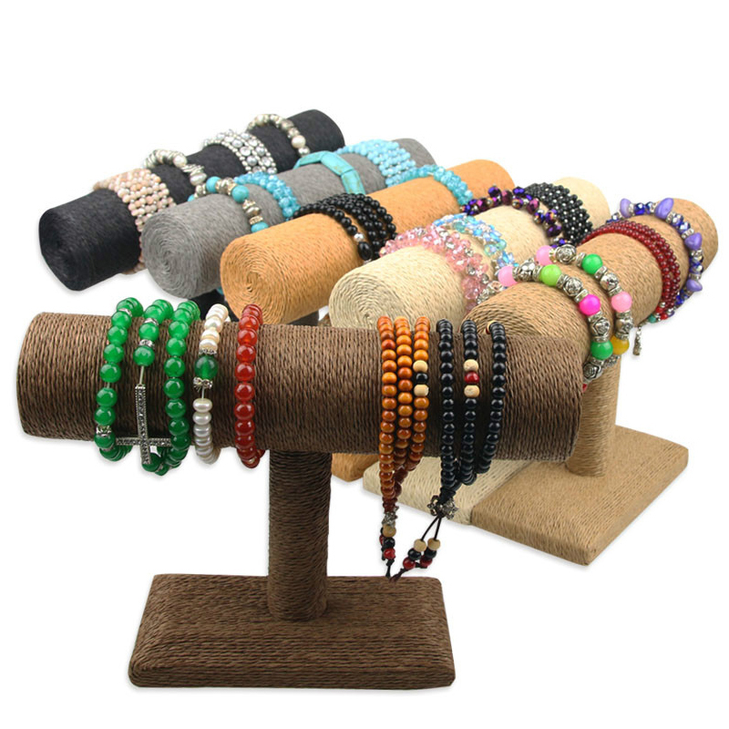 Hemp Rope Bracelet Display Stand Holder Bracelet Display For Jewelry T-bar Jewelry Bangle Organizer Watch Holder Stand