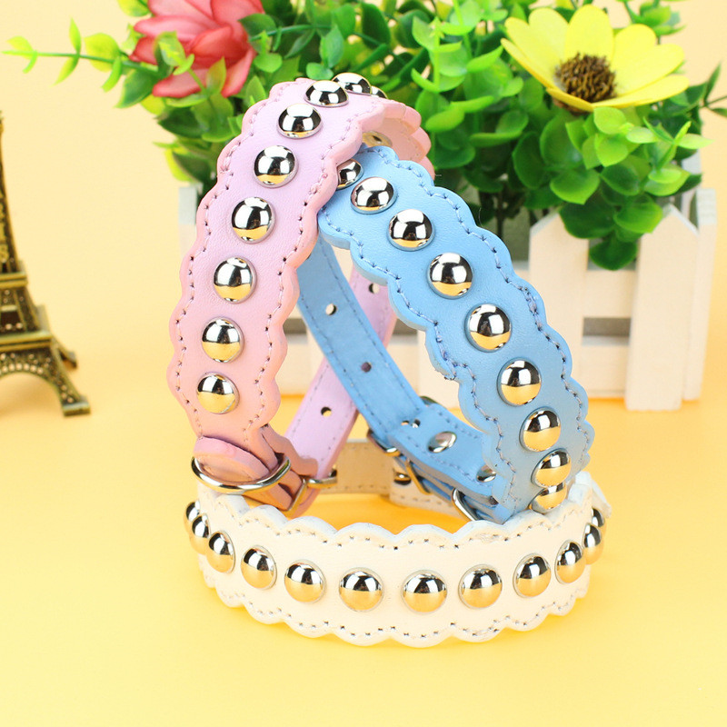 Fashion Pu Leather Spike Studded Dog Collar Full Rivet Wave Shape Necklace for Small and Medium Dog Pet Supplies Accessories ...