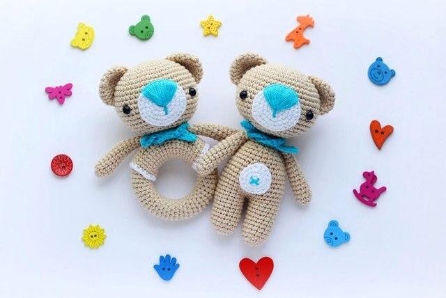 Amigurumi Haak Baby Douche Teddybeer En Teddy Tattle Cadeau Voor