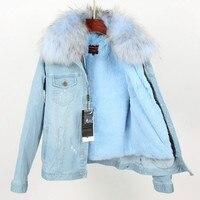Новая джинсовая куртка Для женщин енота меховой воротник экологически чистые лайнер для зимнее пальто парки джинсовые куртки, пальто