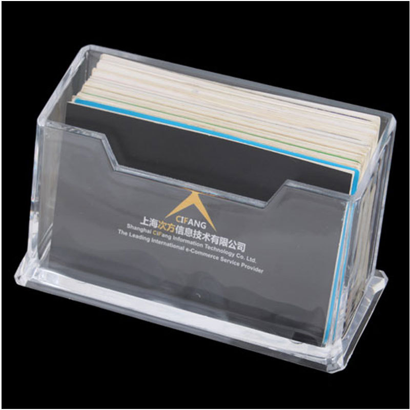 fashion 1pcs clear desktop business card holder display stand acrylic plastic desk shelf 5886 in storage holders racks from home garden on - Plastic Business Card Holders