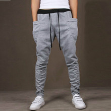 Men Pants Sweatpants Gyms Hip Hop Harem Joggers Mens Solid Big Pocket Casual New Male Sporting Trousers
