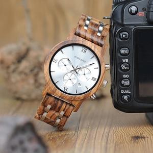Image 4 - בובו ציפור יוקרה שעון גברים מתכת עץ הכרונוגרף איש של קוורץ שעוני יד זכר אוטומטי תאריך שעון Armbanduhr מותאם אישית לוגו Dropship