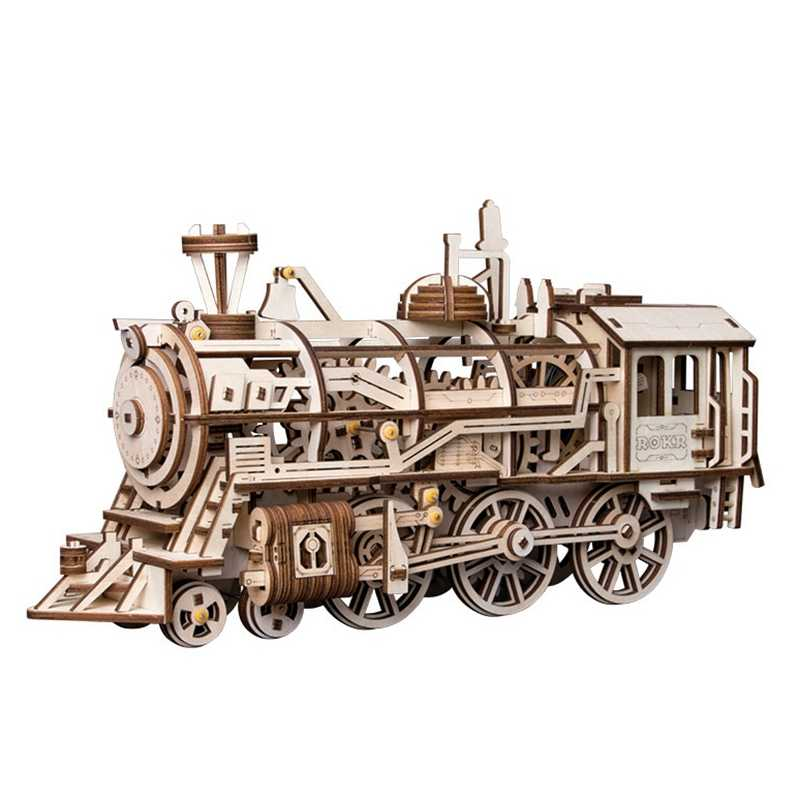 Robud DIY Locomotiva por Um Relógio De Madeira Kits Modelo de Construção de Brinquedos de Montagem Móvel Presente para Meninos & Meninas LK701 para Dropshipping