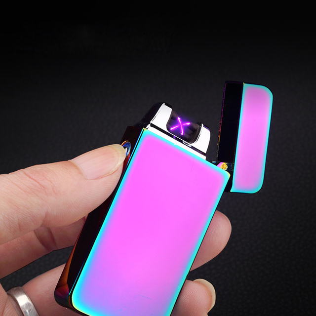2017 Double Fire Cross Twin Arc Pulse Electronic Cigarette Lighter Electric Colorful Charge Usb Lighters Windproof
