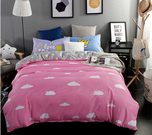 White clouds lovely style comfortable bedding set Super King /King / Queen / Full/ Twin size bedding set 3Pcs/4Pcs bedclothes