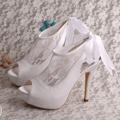 Wedopus MW510 Women High Heels Platform White Sandals for Wedding with Ribbon