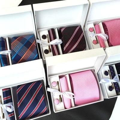 2019 mens fashion set tie gravatas de seda dot laços para homens gravata lenço abotoaduras caixa de presente embalagem roupas masculinas acessórios