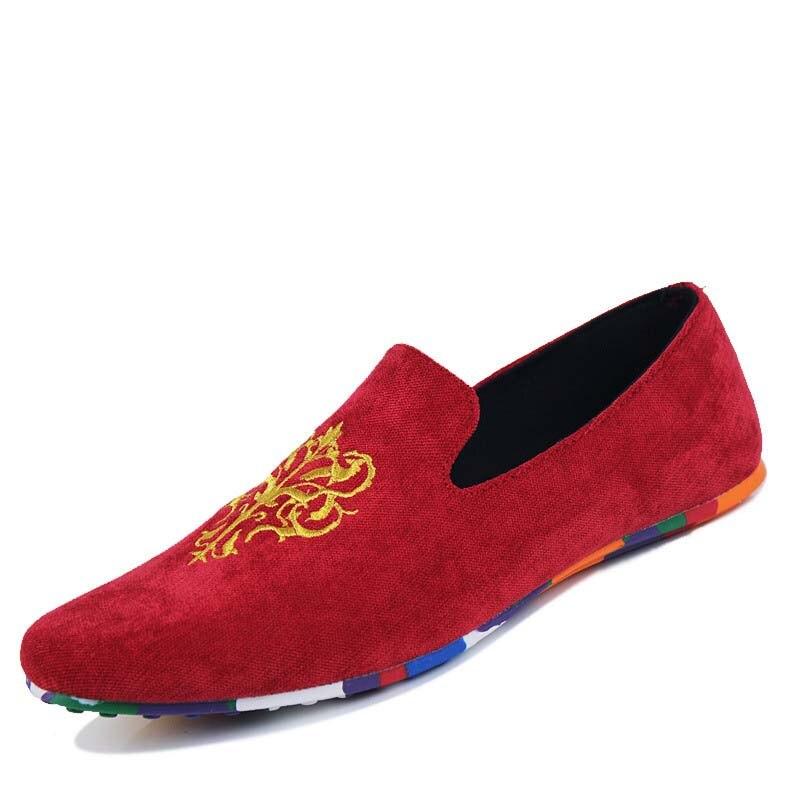 Confortable Masorini Et De Taille Homme Mocassins Designer Slip Ww Douce rouge Hommes Noir Chaussures Appartements on 432 bleu Grande Conduite 7O7wR