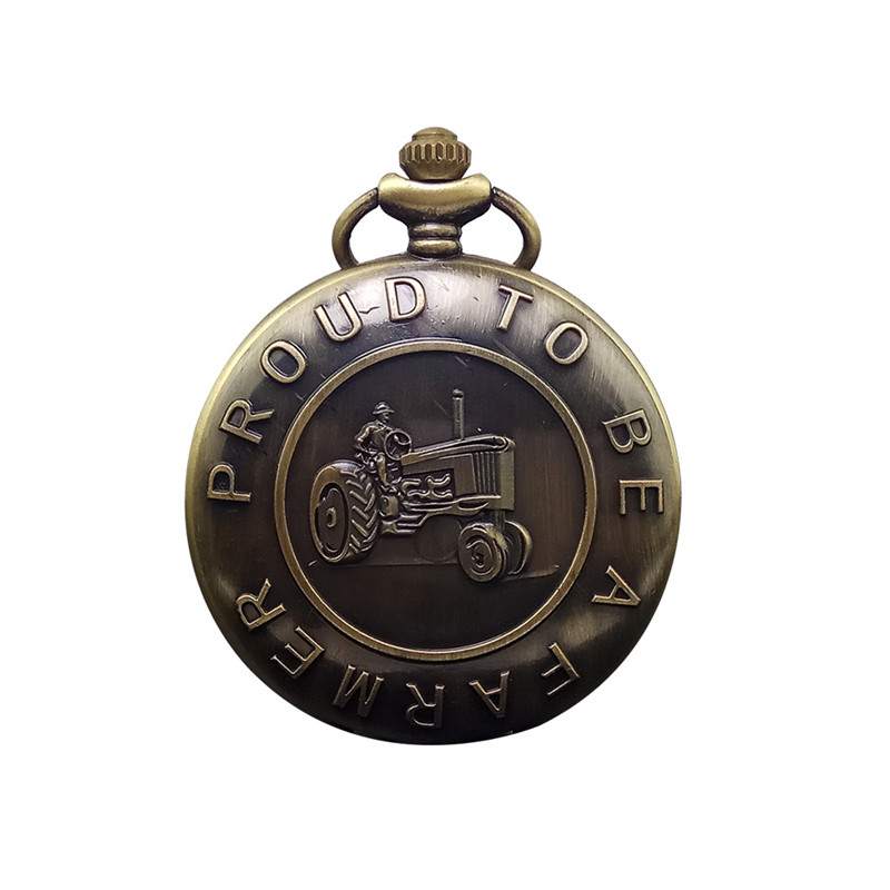 Antique Farmer Car Tractor Quartz Pocket Watch Vintage Steampunk Fob Watches Men Women Necklace Pendant Clock Time With Chain vintage antique carving motorcycle steampunk quartz pocket watch retro bronze women men necklace pendant clock with chain toy