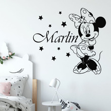 Minnie Mouse Wall Decal Personalized Girl Name Vinyl Sticker Girls Room Nursery Decor Customized Mural AY1293