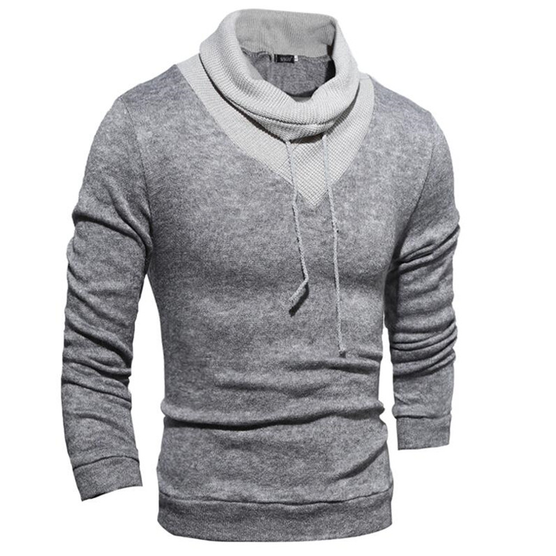 2016 Fashion men sweater pullover men high collar solid color pullover men high quality O collar
