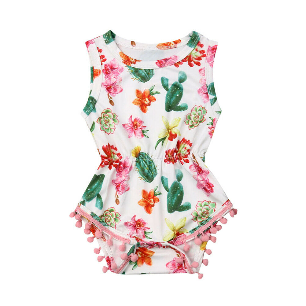 Toddler Summer Kid Baby Girl Tassel Cactus Short Romper Jumpsuit Outfits Clothes Climbing Clothes Pure Cotton