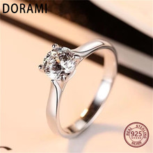 Dorami 1 carats Women ring Simulation diamond Pure 100% S925 Sterling Silver Wedding Party ring Jewelry High quality