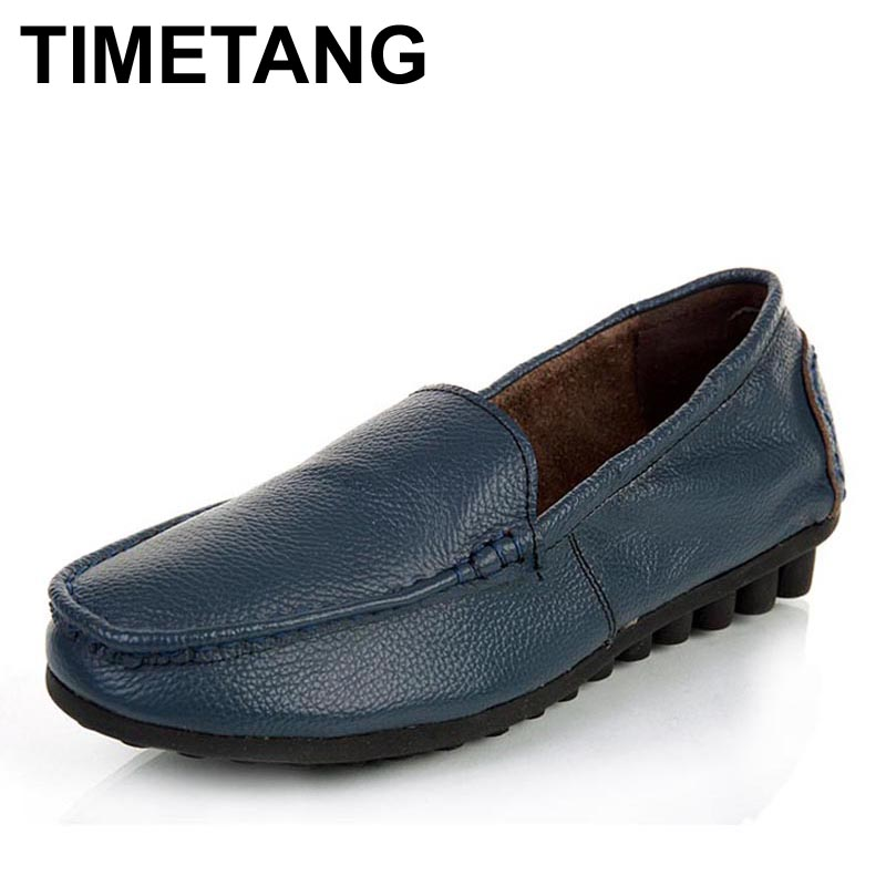 TIMETANG Fashion Loafers Women Genuine Leather Single Shoes Woman Casual Flat Shoes Work Shoes Women Flats 5 Colors vtota shoes woman flat summer shoes fashion genuine leather single shoes 2017 new zapatillas mujer casual flats women shoes b44