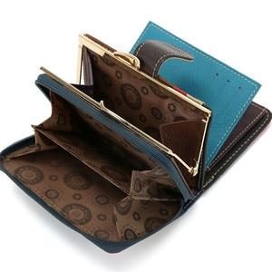 Image 3 - Skóra bydlęca kobiety torebka małe portfele luksusowe marki pani monety torba na kieszonkowe portfel damskie portmonetki carteira feminina