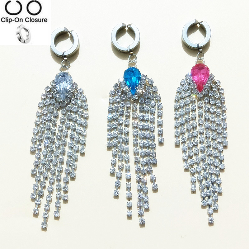 Crystal Tassel Fake Belly Button Rings 316l Surgical Steel Body Jewelry Belly Piercing Rings Sexy Fake Navel Piercing Ombligo