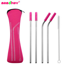 6Pcs/set Reusable Stainless Steel Straws Straight Bent Drinking with Silicone Tips for Hot Cold Beverage Drink Bar Tool G