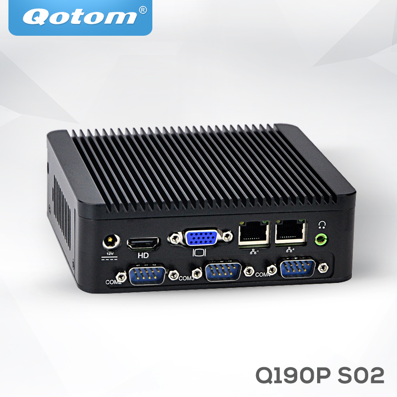 QOTOM Mini PC Q190P with Baytrail j1900 Processor and 4 RS232 2 LAN 4 USB, Fanless Mini Industrial PC Quad Core 2.42 GHz qotom mini itx motherboard with celeron n3150 processor quad core up to 2 08 ghz 2 lan 2 display port fanless motherboard page 1
