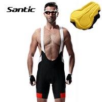 Santic cycling bib shorts Men Pro Race 4D Padded Cycling Shorts Breathable Mesh Back Tights Bicycle Bike Shorts Reflective