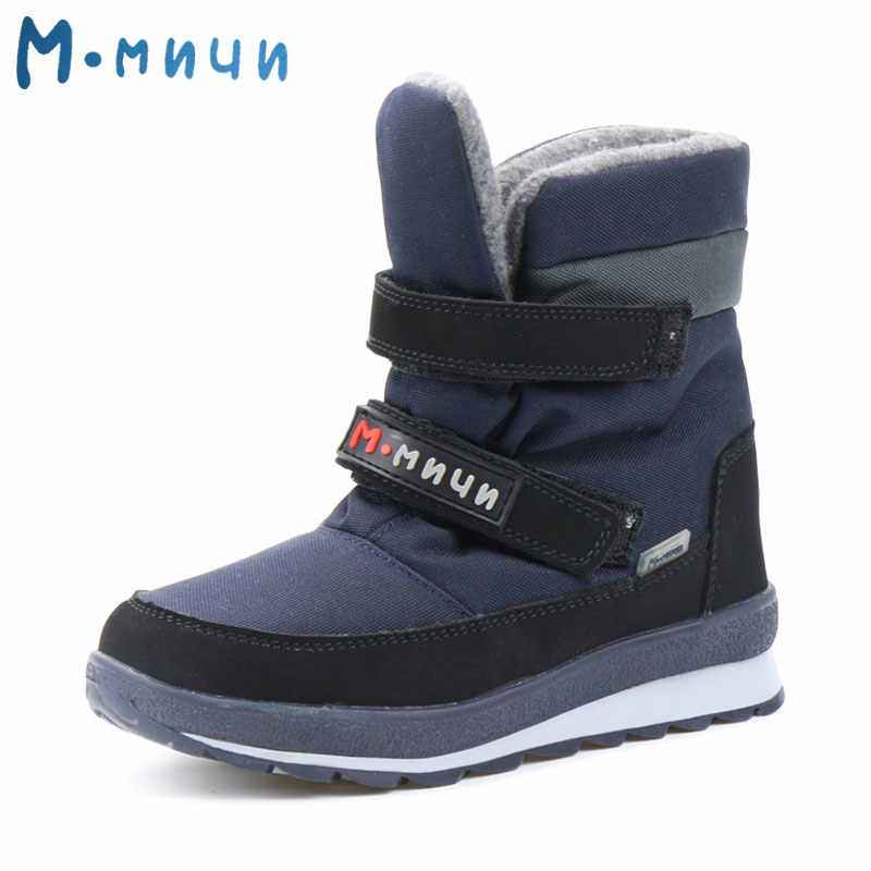 MMNUN 2018 rus tasarımcı kışlık botlar erkekler için sıcak çocuk kış ayakkabı erkekler için kaymaz kar botları boyutu 26-37 ML9114
