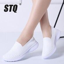 STQ 2020 Thu Đông Nữ Phẳng Giày Sneakers Nữ Lưới Thoáng Khí Flat Ba Lê Đế Bằng Nữ Slip On Đế Cho Nữ Giày 3366