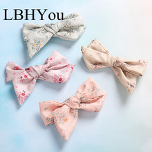 1pcs Top Knot Bows Floral Print Hair Clips,School Girls Bowknot Hairpins,Cute School Barrettes Accessories