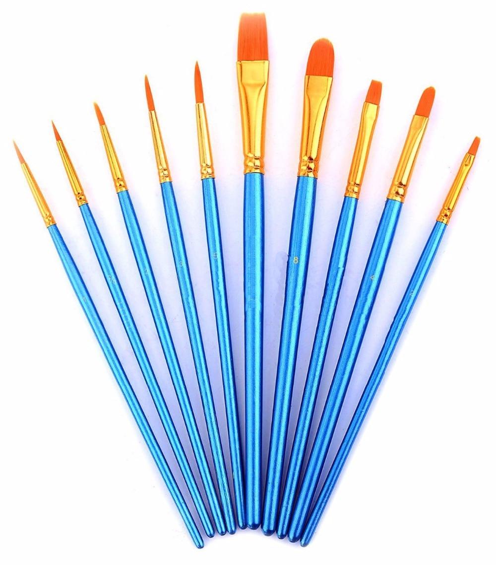 Купить с кэшбэком 10 Pieces Paint Brushes Set Nylon Hair Artists Paintbrush Set for Oil Watercolor Acrylic Painting