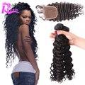 7A дешевые девы волос бразильский глубокая волна с закрытием, Закрытие с пучками 4 шт. много бразильских девственные волосы с закрытием