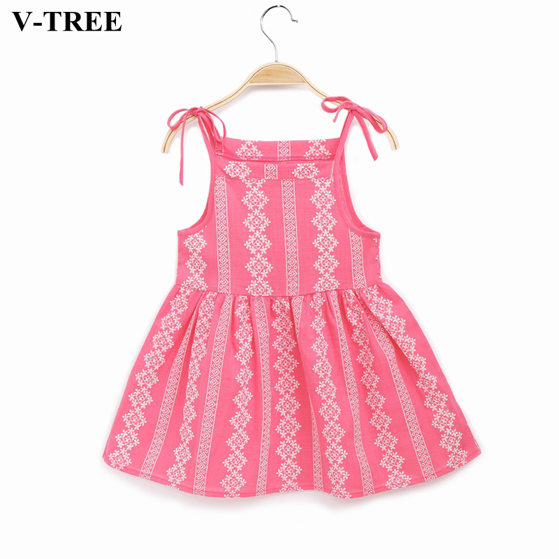 V-TREE Girls Dress Summer Flower Backless Princess Dressrs For 2-8Y Girl Cotton Costumes Kids Clothing Party Clothes
