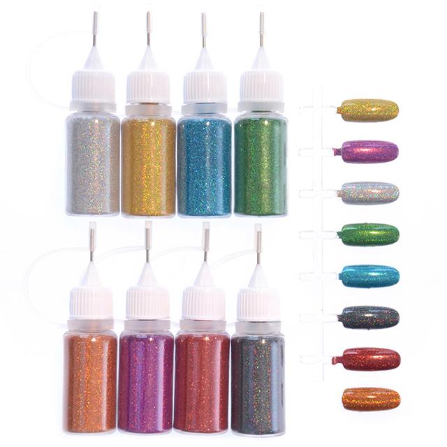 8 Colores/Set de Uñas Brillo Mágico Láser Holográfico Glitter Powder Manicura Del Arte Del Clavo 10 ml #35945