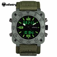 INFANTRY Mens Quartz Watches New Military Army Green Digital Watch Square Face Waterresistant Mens Clock Relogio