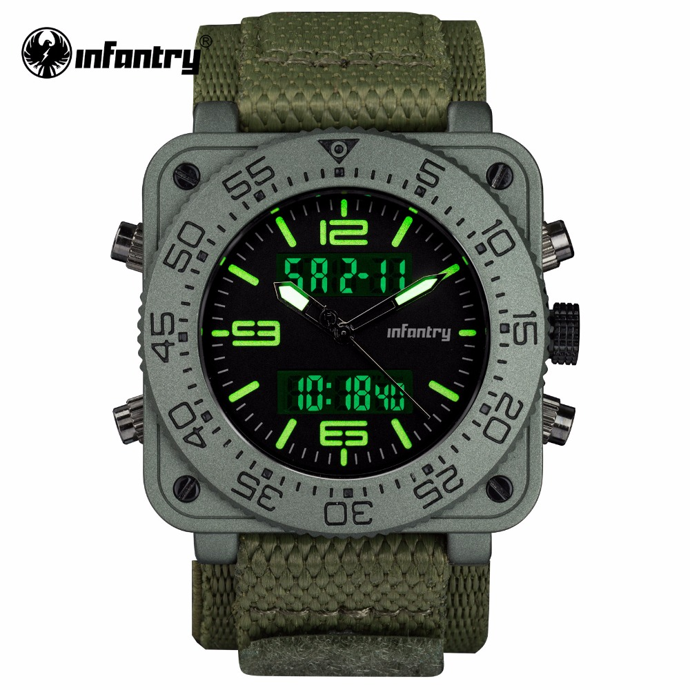 INFANTRY Mens Watches Top Brand Sport Military Watch Men Square Digital LED Wristwatch Tactical Army Nylon relogio masculino