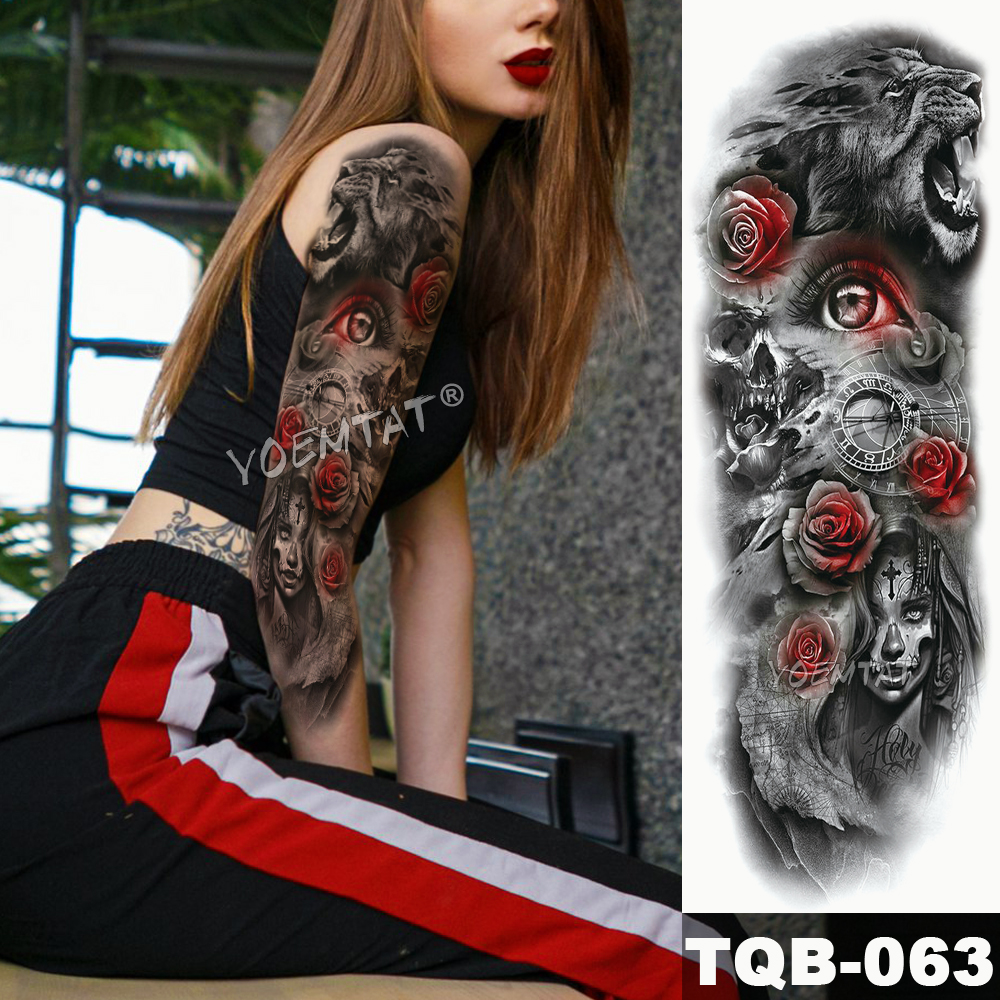 Large Arm Sleeve Tattoo R Dragon Warrior Flag Waterproof Temporary Tattoo Sticker Victory City Men Full Rose Totem Tatoo in Temporary Tattoos from Beauty Health