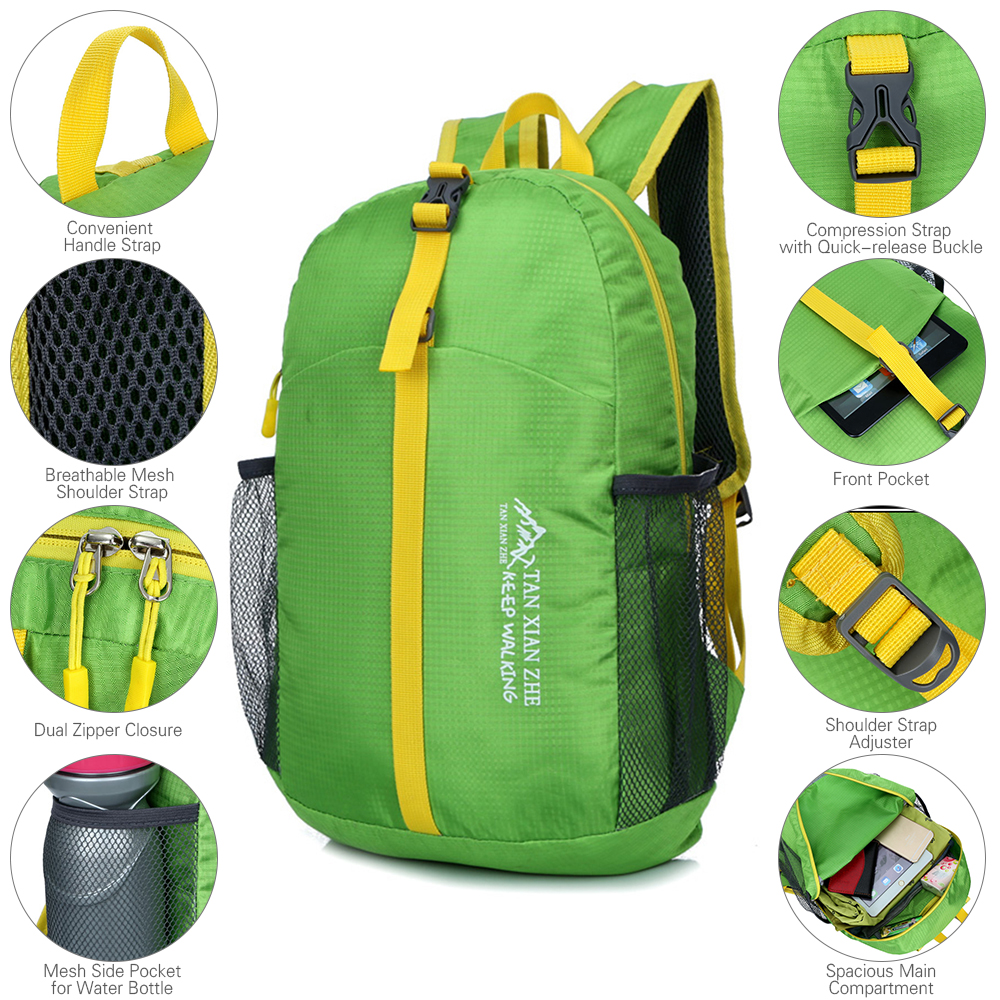 Folding Backpack Lightweight Nylon Foldable Backpack Waterproof Backpack Travel Bag Outdoor Bag for Women Men Travel Hiking in Climbing Bags from Sports Entertainment