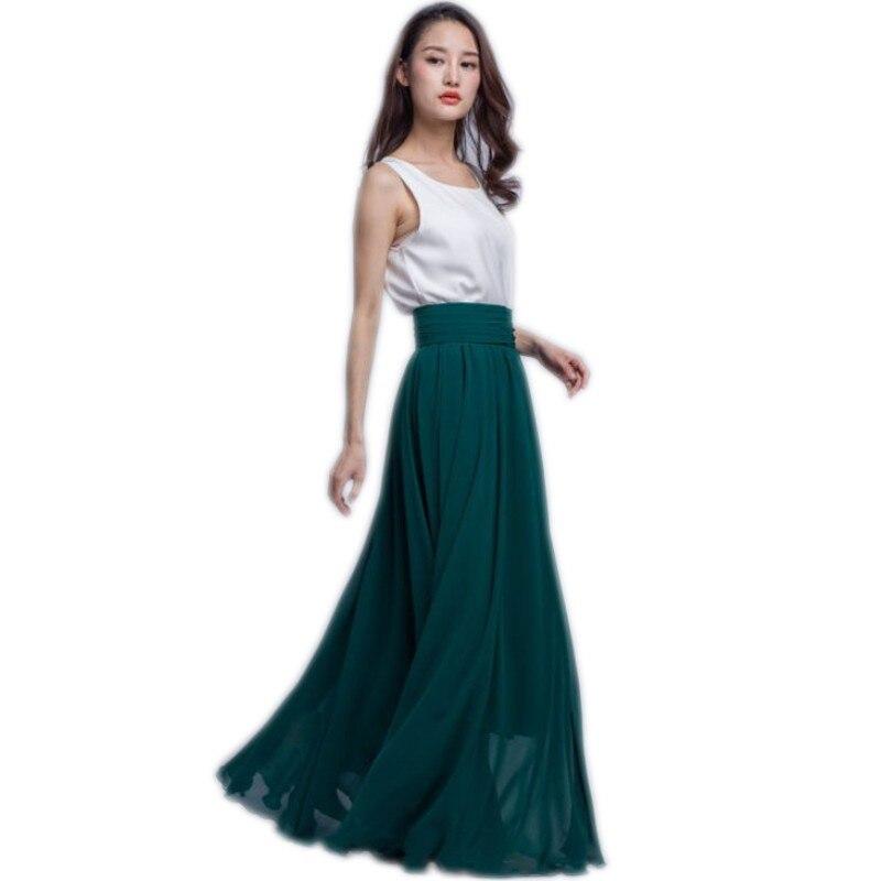 b0c328006 € 35.1 7% de DESCUENTO Falda larga verde oscuro Maxi falda ancha cintura  elástica A línea piso longitud gasa falda personalizada estilo Casual ...
