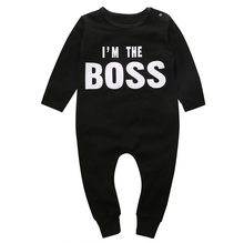 Babies I'm The Boss Clothing Long Sleeve Infant Kids Baby Boy Girl Romper One Pieces Jumpsuit Toddler Clothes