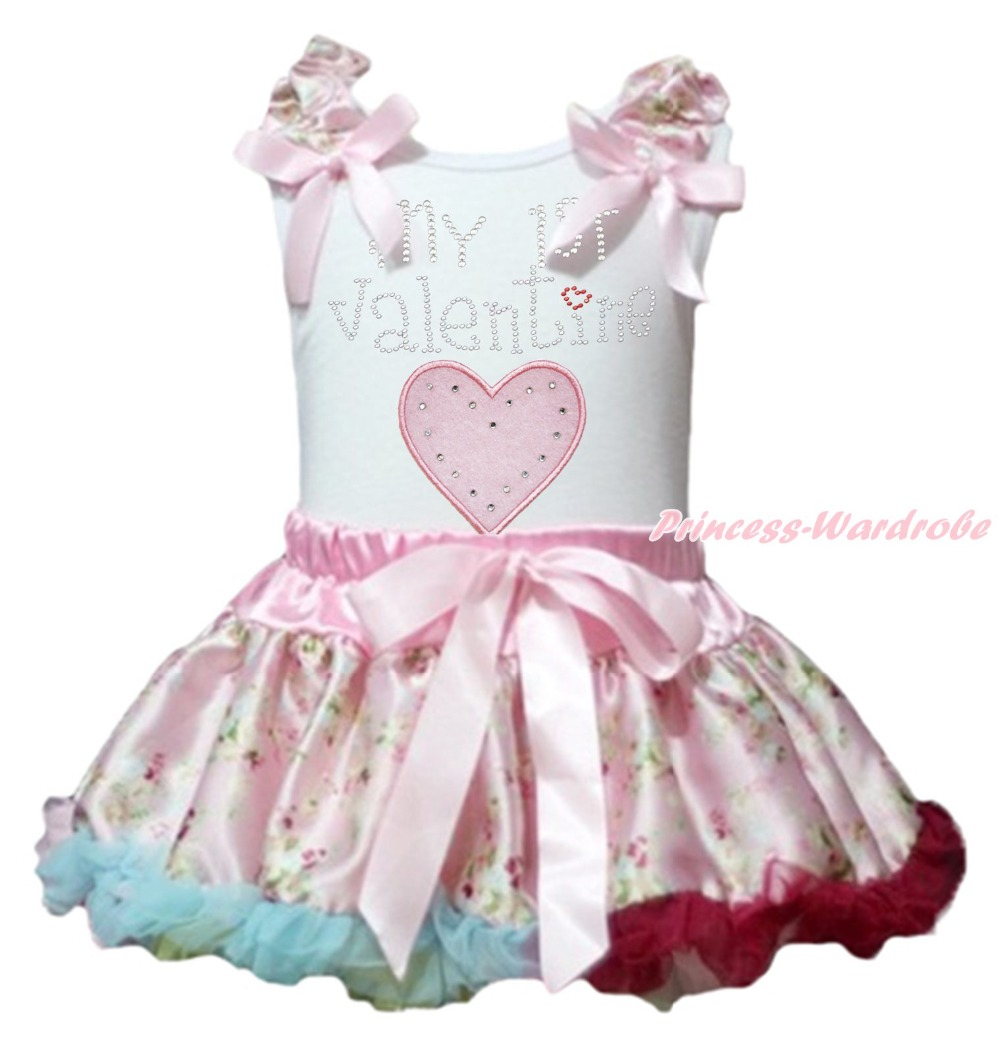 My 1ST Valentine Heart White Top Pink Floral Girl Baby Skirt Outfit Set 3-12M apple smart cover mgtm2zm a black