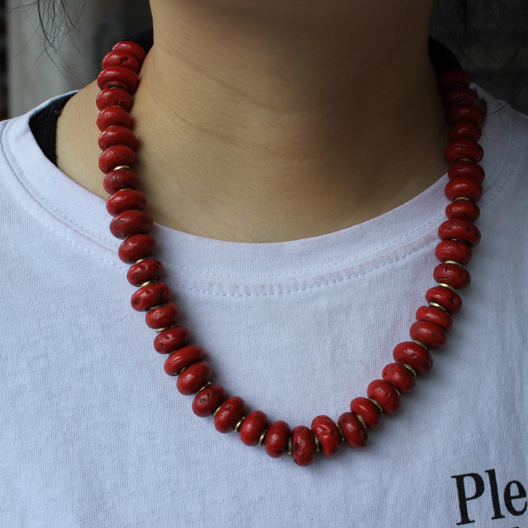 NK185 Vintage Tibetan զարդեր Red Coral Beads Women Վզնոց - Նորաձև զարդեր - Լուսանկար 5